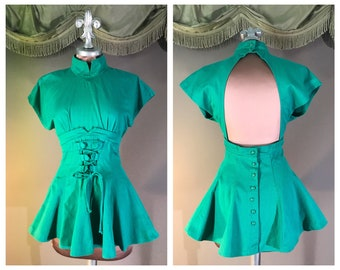 386d5c6f75 1980s peplum top 80s GREEN CORSET TIE fit and flare 40s inspired shirt top  blouse