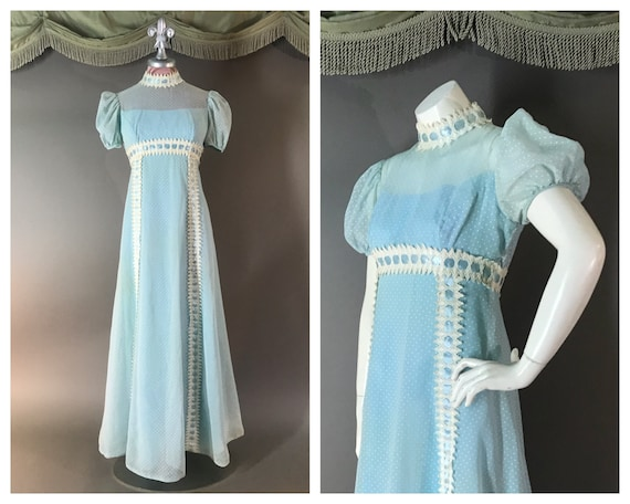 1960s dress vintage 60s BABY BLUE PUFF sleeve lace