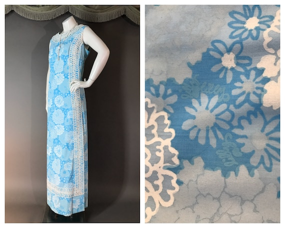 Vintage 1960s 60s BLUE LILLY PULITZER floral white