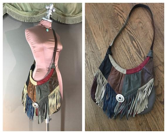 1980s purse 80s LEATHER FRINGE PATCHWORK multicolo