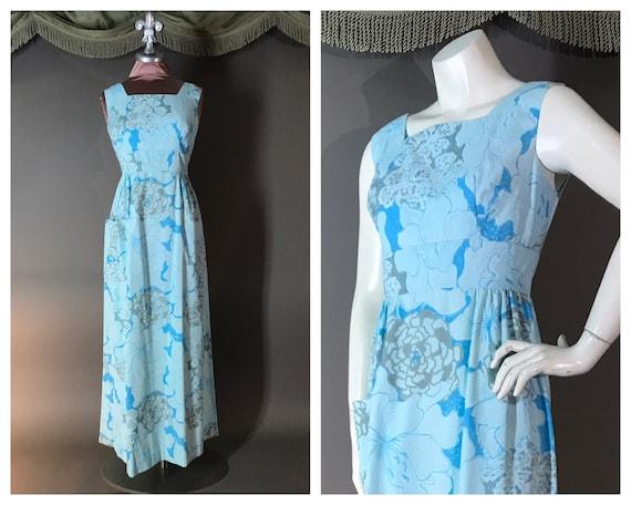Vintage 1960s 60s BLUE LILLY PULITZER floral flowe