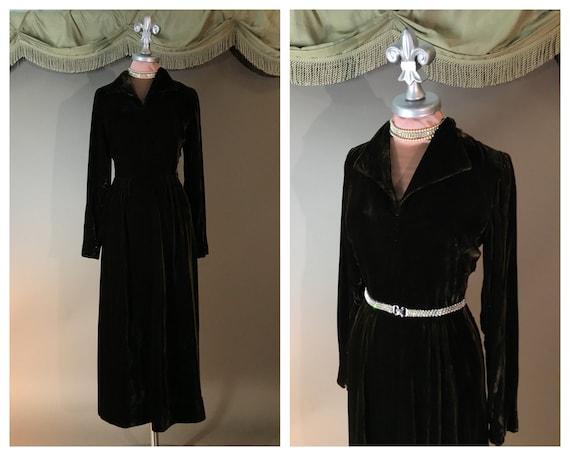 1940s dress 40s vintage DARK CHOCOLATE VELVET brow