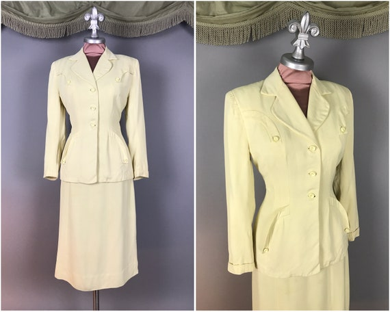 1940s suit vintage 40s PALE LEMON CREAM 2pc jacket