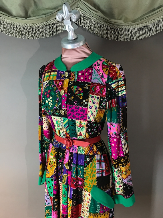 80s dress 1980s vintage LEONARD PARIS italy wool … - image 6