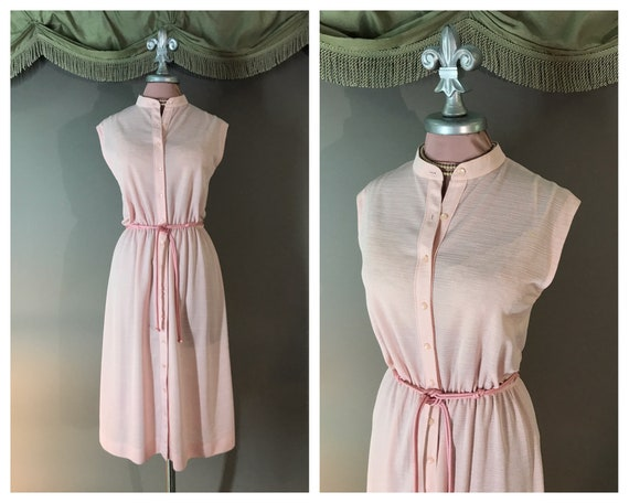 Pretty Pink 1970s dress vintage 70s PASTEL PINK ro