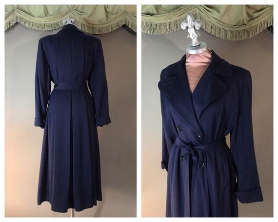1940s coat 40s vintage BLUE GABARDINE Navy fit fla