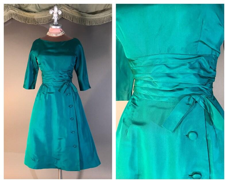 b406b4fb73b34 1950s dress vintage 50s EMERALD GREEN matte taffeta button | Etsy
