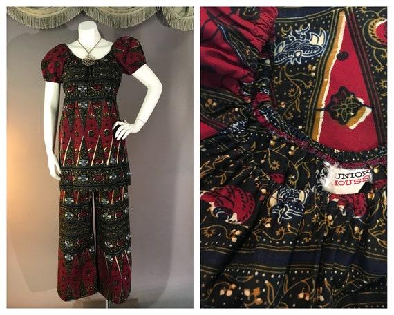 1960s mini dress w pants vintage 70s BATIK BORDER