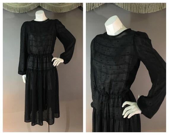 1970s dress 70s vintage BLACK SHEER Peasant style
