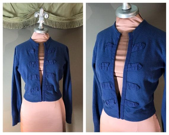 1950s Sweater Vintage 50s CADET BLUE detailed cash