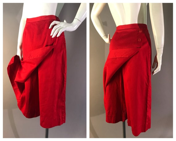 50s skirt pants capris 1950s RED COTTON SKIRT pant