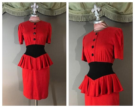1980s dress vintage 80s RED BLACK PEPLUM puff slee