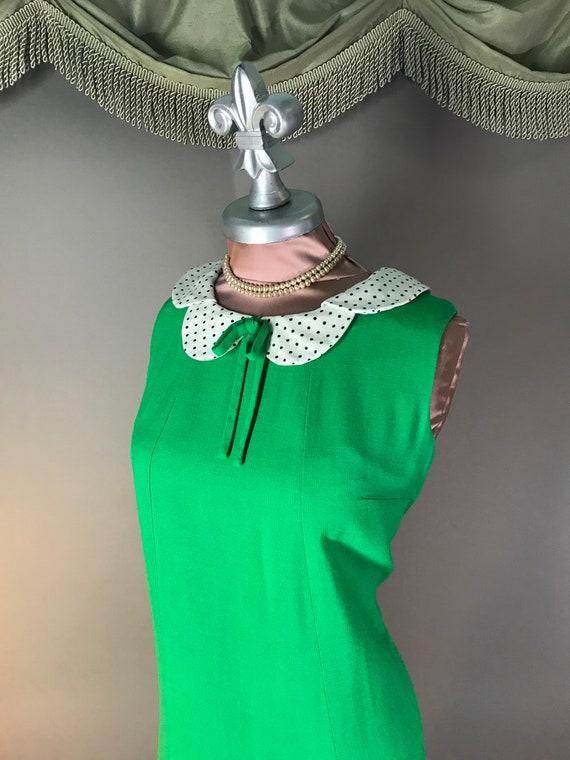 1960s dress vintage 60s vintage GREEN POLKA DOT P… - image 3