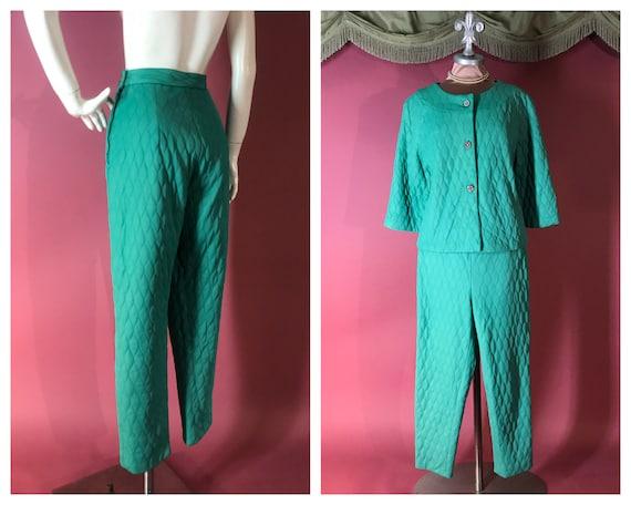 1960s pajamas vintage 60s TEAL AQUA RHINESTONE 2pc