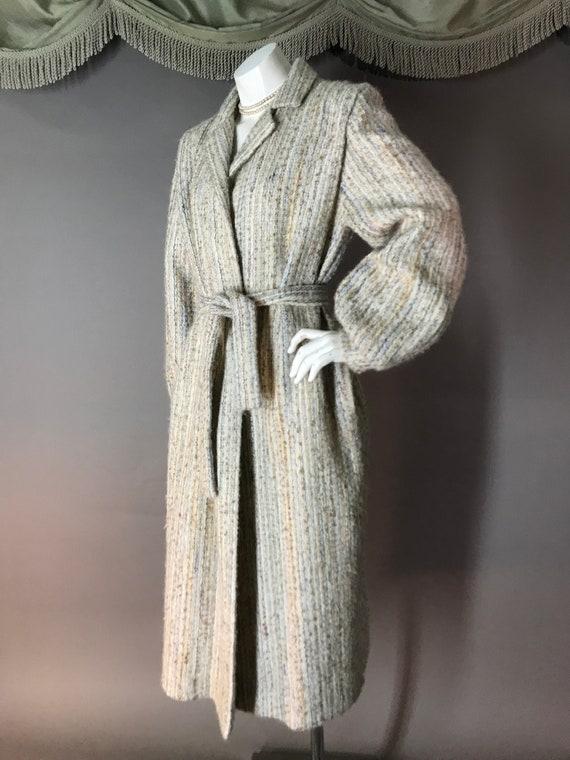 1980s coat vintage 70s BISHOP SLEEVE BELTED neutr… - image 3