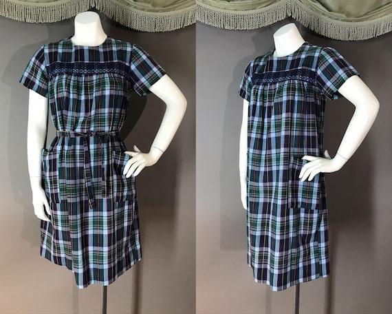 1960s dress 60s vintage SMOCKED BLUE PLAID pockets