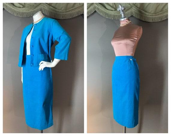 1950s suit vintage 50s TURQUOISE BLUE CORDUROY fin