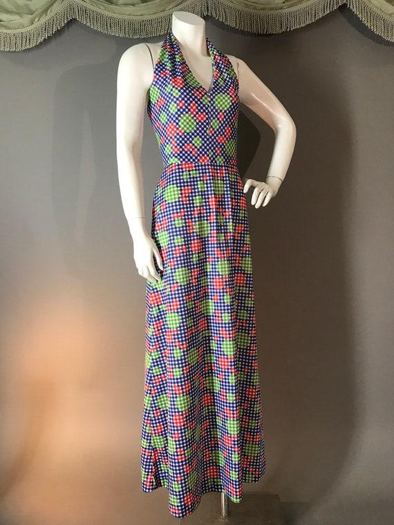 1970s dress vintage 70s APPLE GINGHAM print blue … - image 5