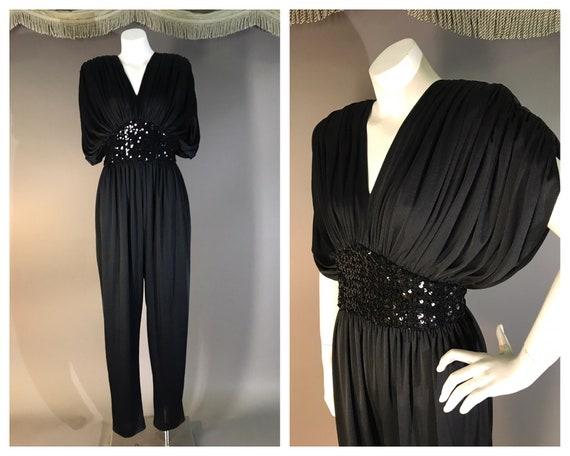 1970s jumpsuit vintage 70s BLACK JERSEY SEQUIN dra