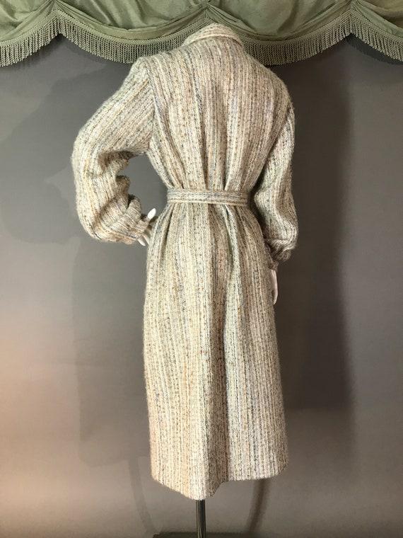 1980s coat vintage 70s BISHOP SLEEVE BELTED neutr… - image 5