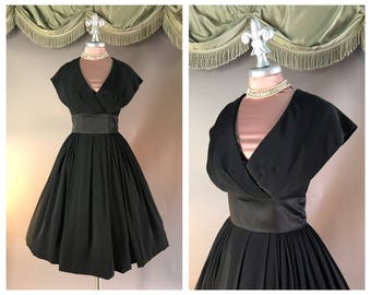 50s dress 1950s vintage SATIN WAIST BLACK rayon crepe full skirt new look party dress