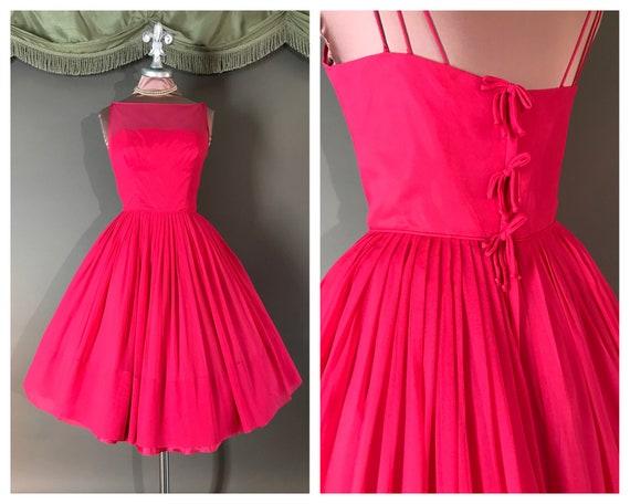 1950s dress vintage 50s PINK CHIFFON raspberry hot