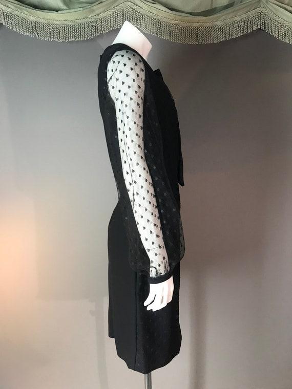 1960s dress vintage 60s DOT LACE BLACK point d'es… - image 2