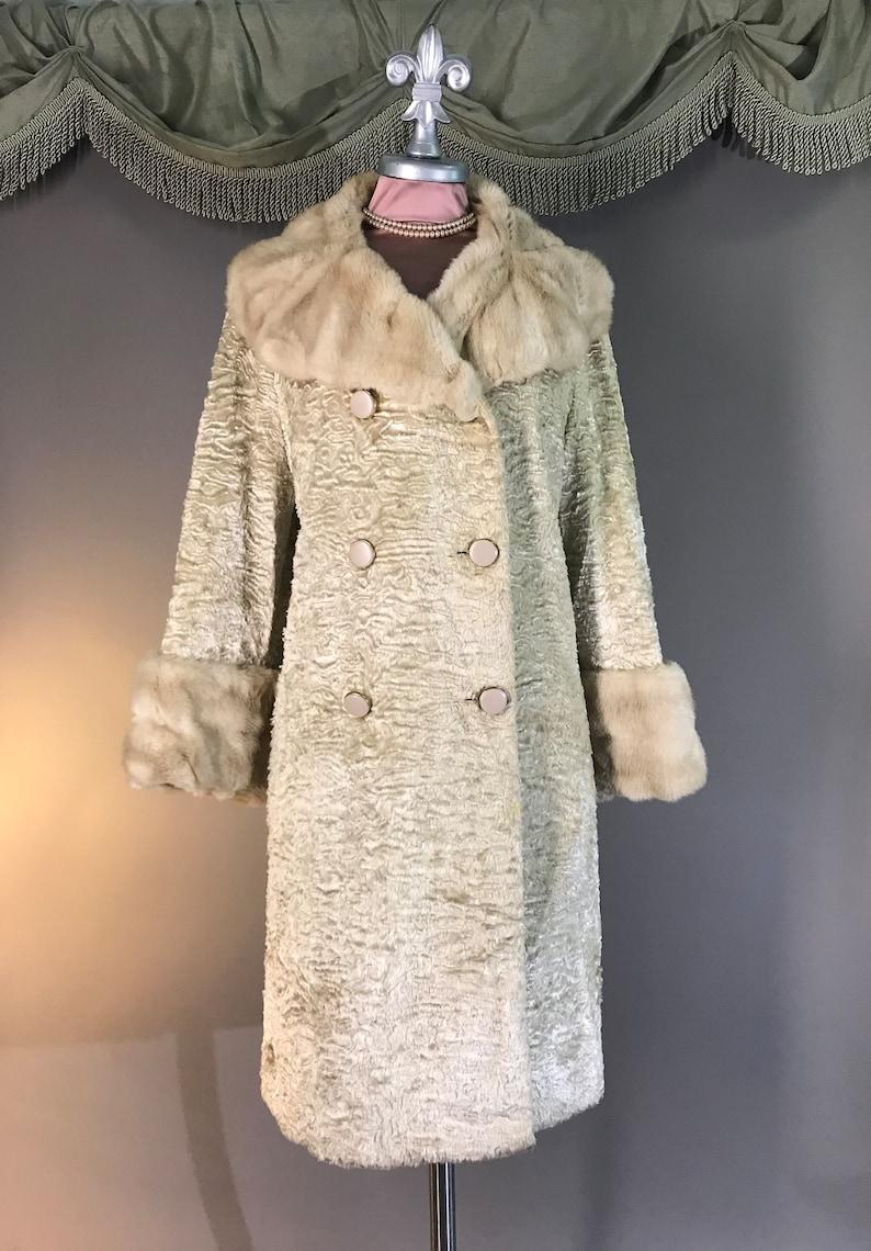 1960s coat 60s Vintage BLONDE MINK PERSIAN lamb  faux fur fit and flare mod princess coat