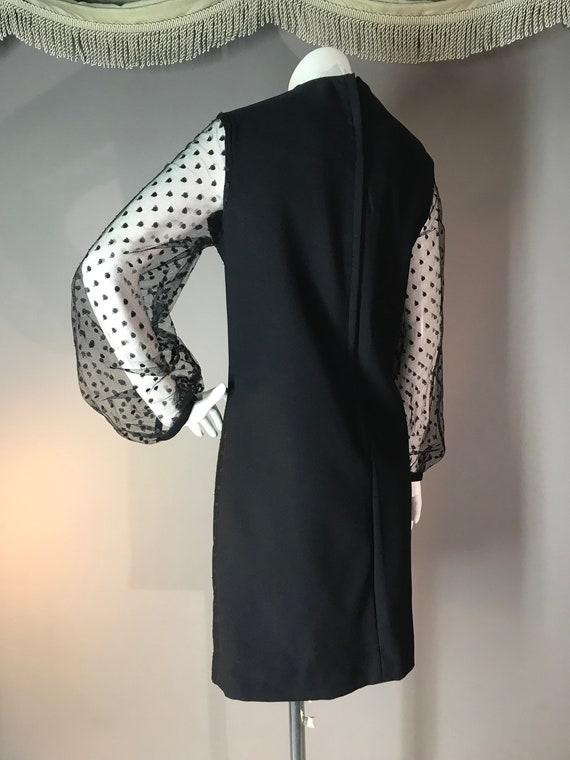 1960s dress vintage 60s DOT LACE BLACK point d'es… - image 6