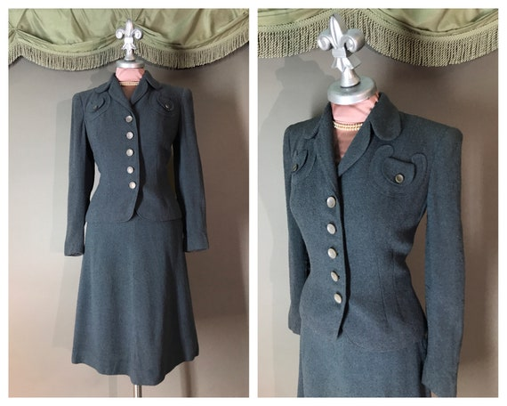 1940s suit vintage 40s SLATE BLUE DETAILED 2pc jac