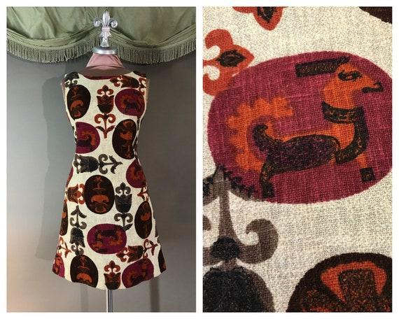 1960s dress 60s vintage ZODIAC FLORAL PRINT Cotton