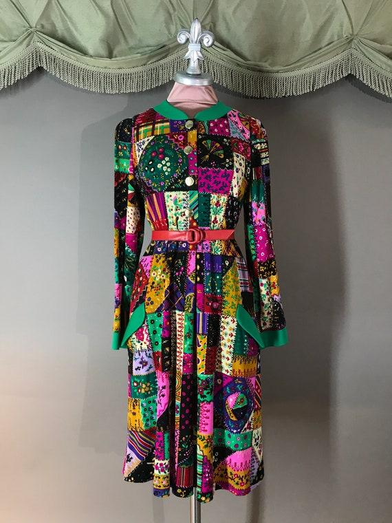 80s dress 1980s vintage LEONARD PARIS italy wool … - image 4