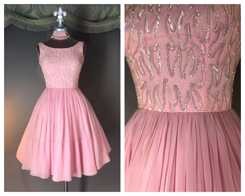 402bd07cfd0 1950s dress vintage 50s PINK SEQUIN chiffon full skirt