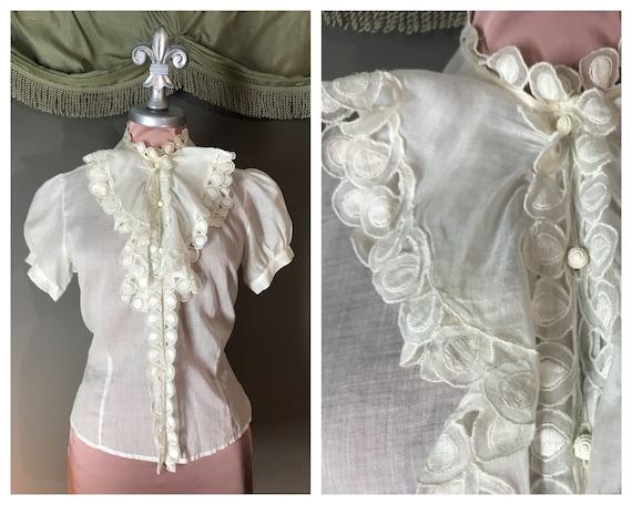 SOLD on layaway 1930s blouse vintage 30s WHITE BAT