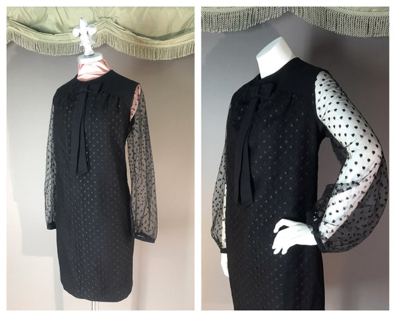 1960s dress vintage 60s DOT LACE BLACK point d'es… - image 1