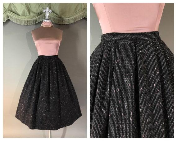 1950s skirt vintage 50s PINK GRAY gray wool pleate