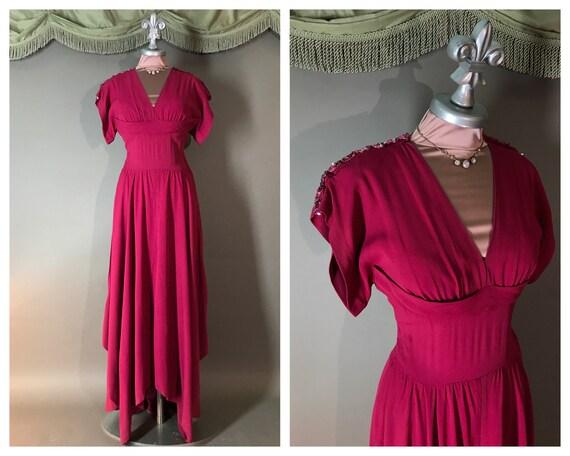 1940s dress vintage 40s MAGENTA PINK SEQUIN draped