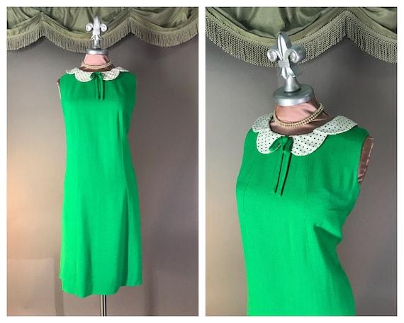 1960s dress vintage 60s vintage GREEN POLKA DOT P… - image 1