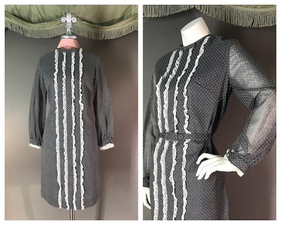 1960s dress 60s vintage GRAY WHITE LACE polka dots