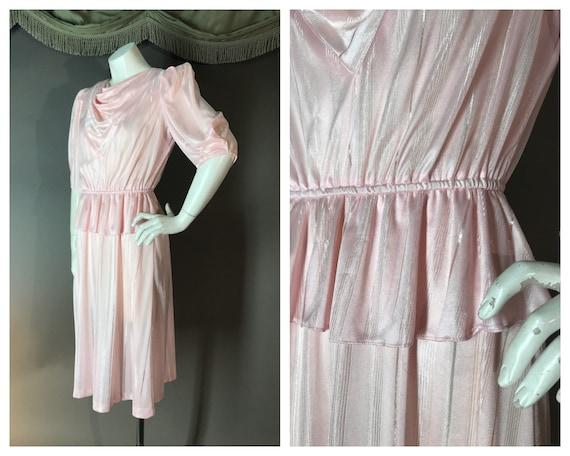 1980s dress vintage 80s PINK PEPLUM 40s inspired s