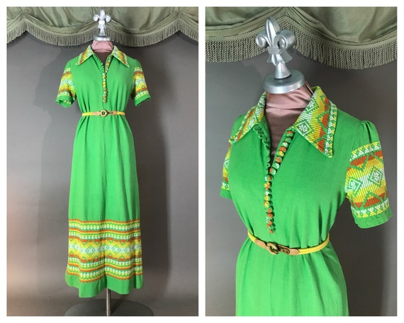 1970s dress vintage 70s GREEN EMBROIDERY GUATEMALA