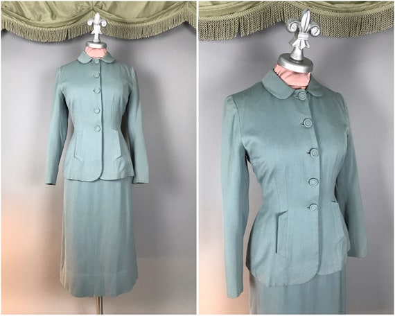 1940s suit vintage 40s BLUE GREEN TEAL Vogue Coutu