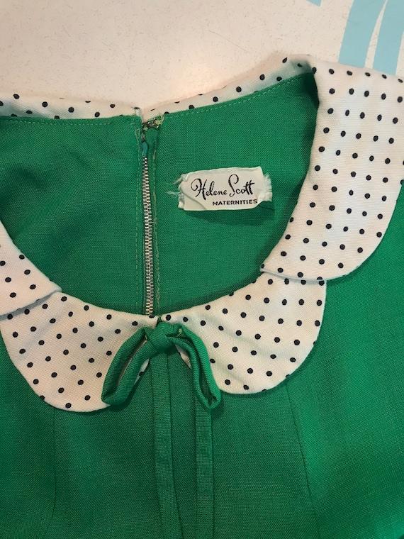 1960s dress vintage 60s vintage GREEN POLKA DOT P… - image 8