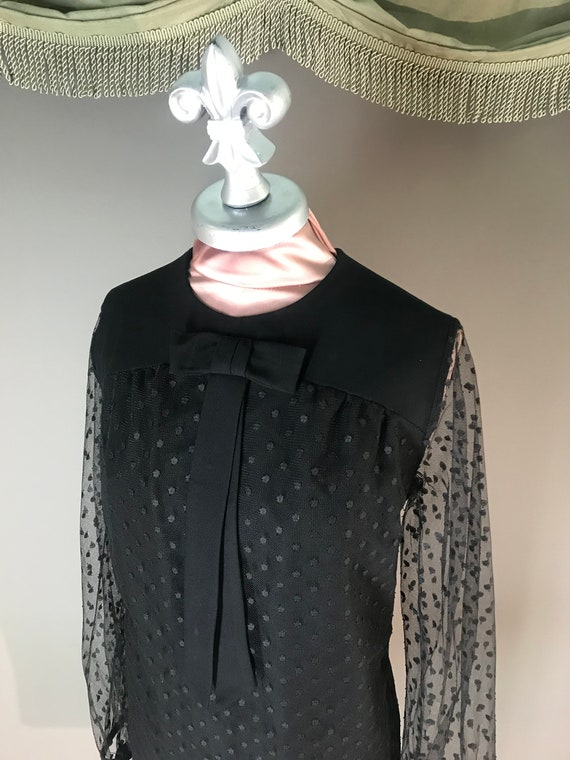1960s dress vintage 60s DOT LACE BLACK point d'es… - image 8