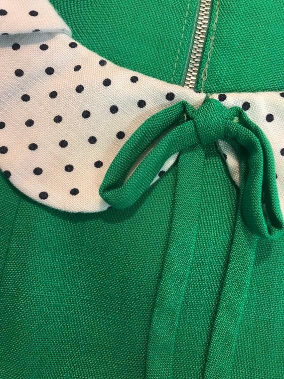 1960s dress vintage 60s vintage GREEN POLKA DOT P… - image 2