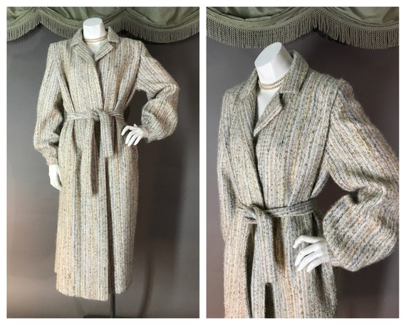 1980s coat vintage 70s BISHOP SLEEVE BELTED neutr… - image 1