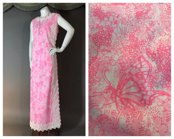 Vintage 1960s 60s PINK LILLY PULITZER floral white