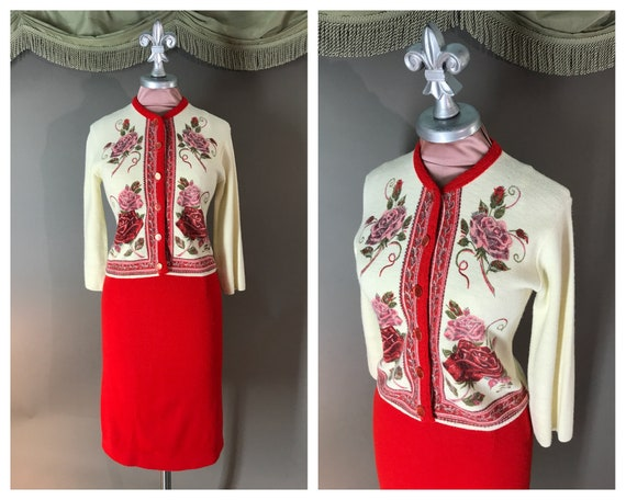 1950s sweater set 60s RED ROSES PINK print sweater