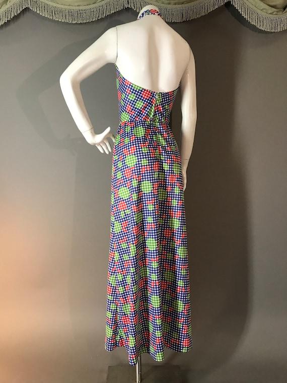 1970s dress vintage 70s APPLE GINGHAM print blue … - image 7