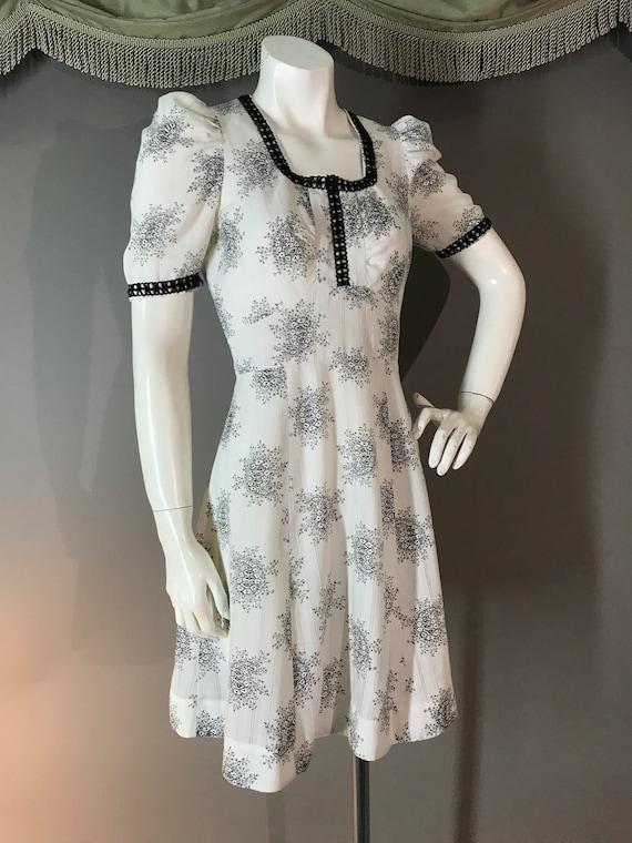 1960s dress 60s vintage WHITE BLACK TOILE puff sl… - image 6